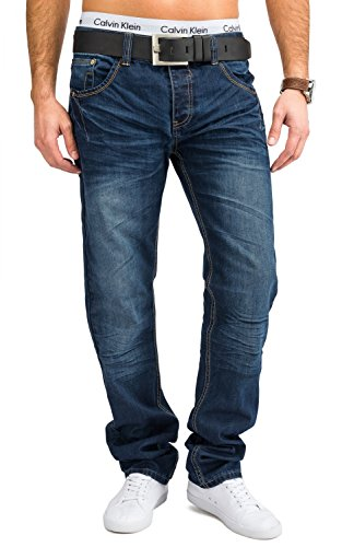 Herren Jeans · (Slim Fit) Dunkle Jeanshose mit hellen Nähten, Used Blue Jeans aus reiner Baumwolle, Stone Washed · H1659 von Jaylvis Blau