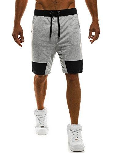 OZONEE Herren Hose Shorts Kurzhose Sporthose Fitness Freizeitshorts Jogginghose Bermudas J.STYLE AK10 GRAU 2XL