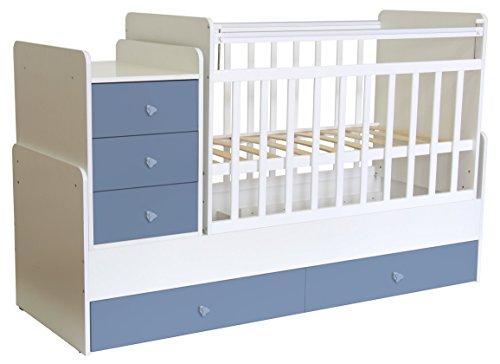Polini Kids mitwachsendes Baby Kinder Kombi-Kinderbett Simple 1100 mit Kommode (Weiß Blau)