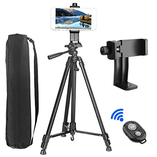 Trípode de Cámara (157cm/62), PEYOU Trípode para Móvil de Aluminio con Sostenedor 360 ° Rotación, Control Remoto Bluetooth, Bolsa, para Samsung/iPhone/Cámara DSLR