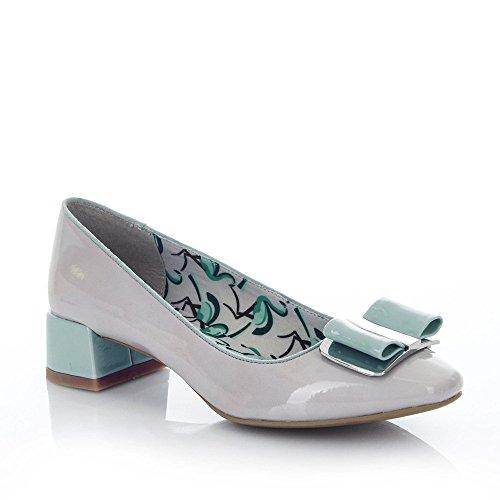 7e10f000740f Ruby Shoo Ladies June Stone and Mint Patent Bow Pump Vegan Friendly Shoes-UK  4