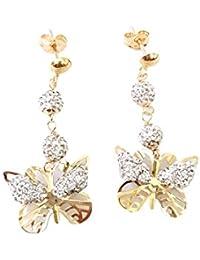 Joyería Centro Oro–Pendientes colgantes mariposa en oro amarillo 18kt 750–circonitas GR.2,00