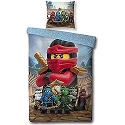 Character World Kinder Bettwäsche Set Lego Ninjago, 135x200cm + 80x80cm, 100% Baumwolle (Ninjago Red, 100% Baumwolle Biber/Flanell)