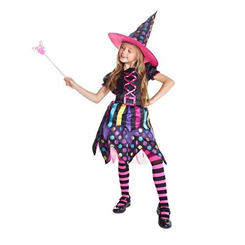 Mädchen Bunt Magische Hexe Kinder Kostüm Halloween Kleid Und Hut - Klein (3 - 5 Jahre) (Kleine Halloween Mädchen 5)