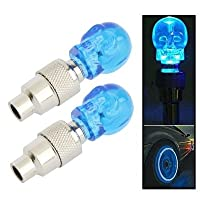 ZSR-haohai Small component 2x Valve Cap Light Wheel Tyre Lamp Skull Shaped for Car/Motorbike/Bike Bicycle accessories