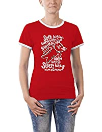 Touchlines Girlie Ringer Women's Contrast T-Shirt with Soft Kitty Warm Kitty Motif
