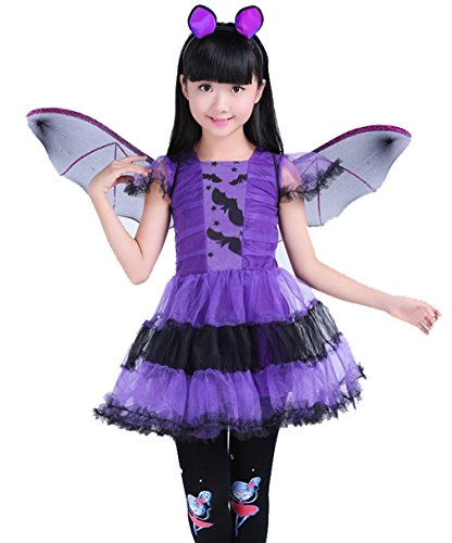 Sweet Kleid Kostüm Halloween Schläger Hexe Kleid Tulle purpurrotes Kinder Mädchen Cosplay (120)
