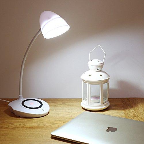 Vorally 5W Schreibtischlampe LED Mit Qi-Ladestation - 3 Modi Dimmbar, 5V/1A USB-Anschluss, Energieeffizient, Farbtemperaturen 2500K-6000K - LED-Tischlampe inkl. Augenschutz