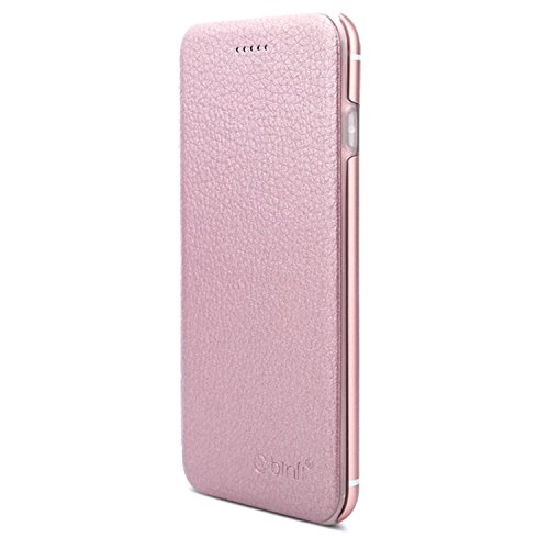 VAPIAO Echtleder Schutzhülle Lederschutzhülle Aluminium Hard Back Flip Cover TPU Case für iPhone 7 Plus in Rosé Gold Hard Back Iphone