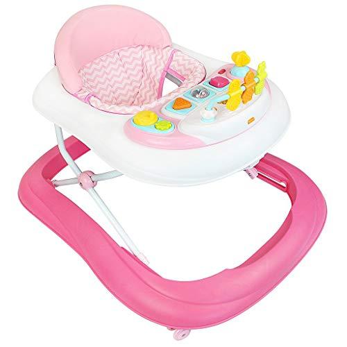 Todeco - Girello, Centro Attività per Bambini - Fascia d\'età: Da 6 a 18 mesi - Materiale: PP - Modello Rosa con giocattoli