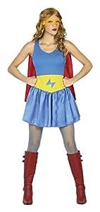 Atosa- Disfraz mujer super héroe comic, Color celeste, XS-S (18074)