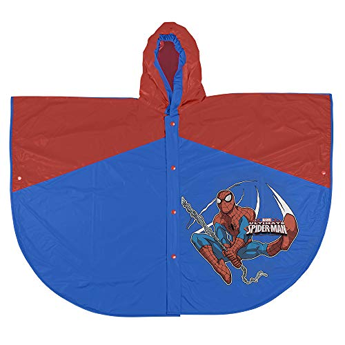 PERLETTI Ultimate Spiderman Official Waterproof Cape for Boys - Marvel Spider Man Rainproof Blue and Red Poncho with Hood and Buttons for Kids - 2 Size