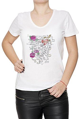Only Love Donna V-Collo T-shirt Bianco Cotone Maniche Corte White Women's V-neck T-shirt