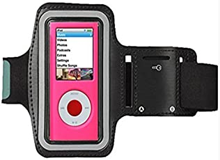 CFZC Featured with Scratch-Resistant Material Slim Lightweight Dual Arm-Size Slots (for Small and Large Arms) Sweat Proof and Key Pocket MP3 Player Armband. [Black]
