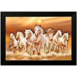 SAF 6546B Seven Running Horses||vastu Painting For Home And Office||Seven Lucky Running Horses Painting || 7 Horses Painting ||seven Horses||vastu Horses||Shyam Art 'N' Frame Exclusive Framed Wall Art Paintings(Wood,35cmx 2Cmx 50Cm Framed Painting)