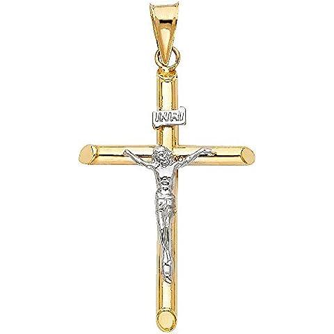 14K dos tonos oro Cruz Crucifijo Religioso colgante Charm