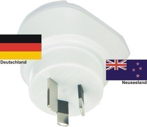 Design Reisestecker Adapter für Neuseeland auf Deutschland Schuko-230V, Umwandlungsstecker NZ-D