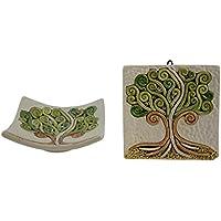 Albero della vita 1 ciotola in ceramica 1 mattonella in ceramica