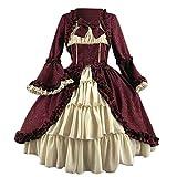 Alwayswin Damen Mode Frauen Vintage Gothic Court Square Kragen Patchwork Bow Kleid Frauen Langarm Lolita Kleid Mittelalterliches Vintage-Kleid Rockabilly Kleider Cosplay Kostüm