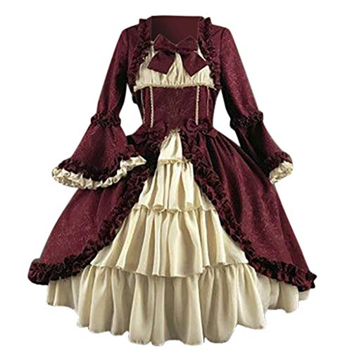Mittelalterliches Kostüm Damen Langarm Mittelalter Kleid Gothic Retro Kleid Renaissance Cosplay Kostüm Prinzessin Kleid Maxikleid Bodenlänge Abendkleider für Halloween Karneval Weihnachten -