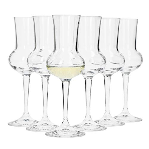 Bormioli Rocco Grappaglas, Glas, Transparent, 5,1 x 5,1 x 16,5 cm (Gläser 6 Geschichte In)