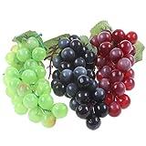 Liqidécor Künstliche Trauben, Weinrebe, lebensechte Früchte, Dekoration, Küche, Party, Kneipe, Wohnschrank, 3 Farben (36 Kerne), 3 Stück