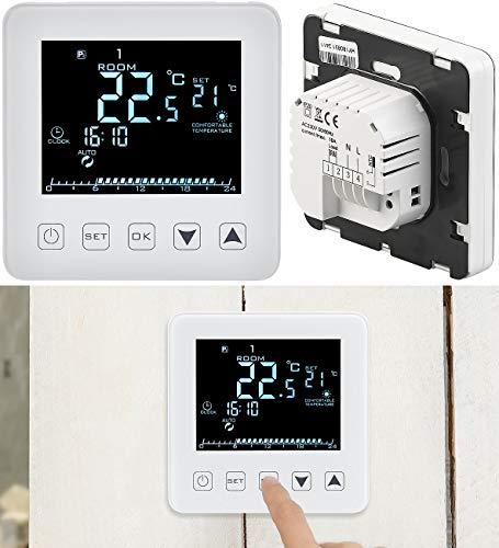revolt Wandthermostat: Wand-Thermostat für Fußbodenheizung, LCD, Touch-Tasten, programmierbar (Raumthermostat) -