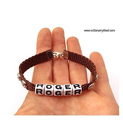 Collier pour chat, chien, animaux compagnie avec message, nom, initiale, prénom ROGER (réversible, personnalisable)