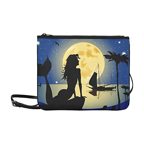 AGIRL Meerjungfrau Silhouette gegen Nacht Landschaft benutzerdefinierte hochwertige Nylon dünne Clutch Crossbody Tasche Umhängetasche