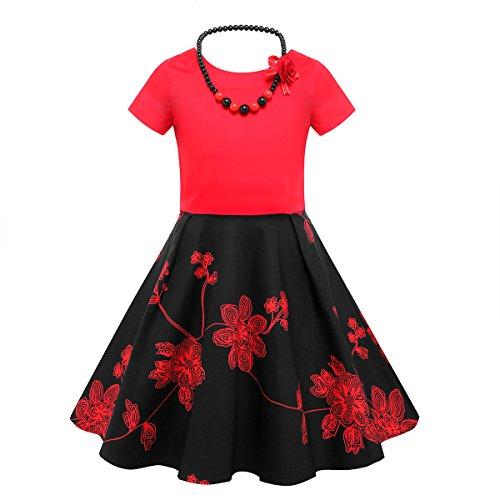 HBBMagic Kurzarm Rockabilly 50er Vintage Retro Kleid mädchen Baumwolle Kleid Polka Dots Faltenrock mit Halskette Zubehör Geschenke für ()