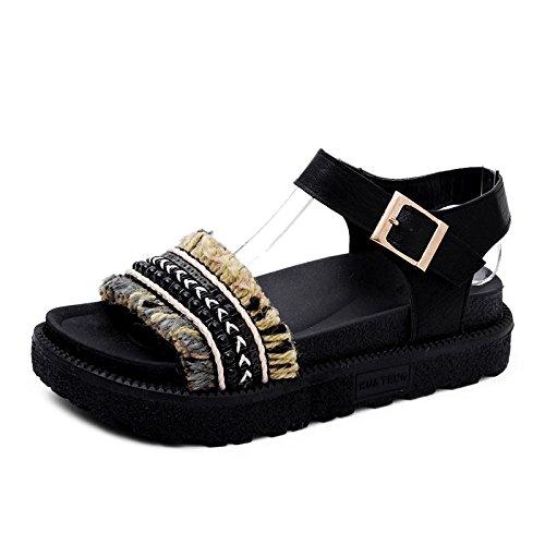 LIXIONG Portable Sandales étudiantes féminines d'été Chaussures de plage décontractées de 18 à 40 ans -Chaussures de mode ( Couleur : B , taille : EU36/UK4/CN36 ) A