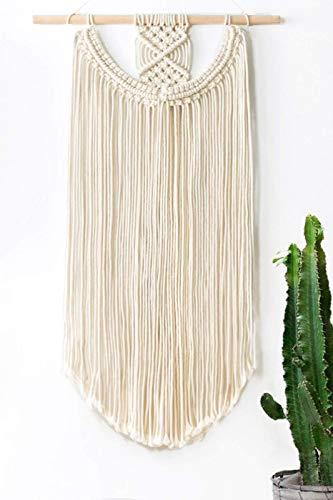 Mkouo Colgante de Pared de macramé Tapiz Decoración de Pared Boho Chic Hecho a Mano Tejido de algodón Bohemia 91.5x33 cm