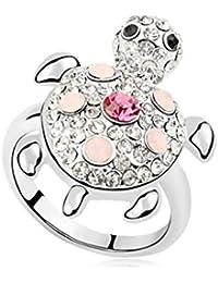 Epinki Anillo Chapado en Oro para Mujer Promesa Compromiso Anillo de Boda Tortuga Completo Cristal Anillo