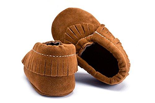 Baby Wildleder Quaste Schuhe Unisex Kleinkind Weichsohle Mokassins Krippe Anti-Rutsch Prewalker Turnschuhe -Mystyles Dunkel Braun