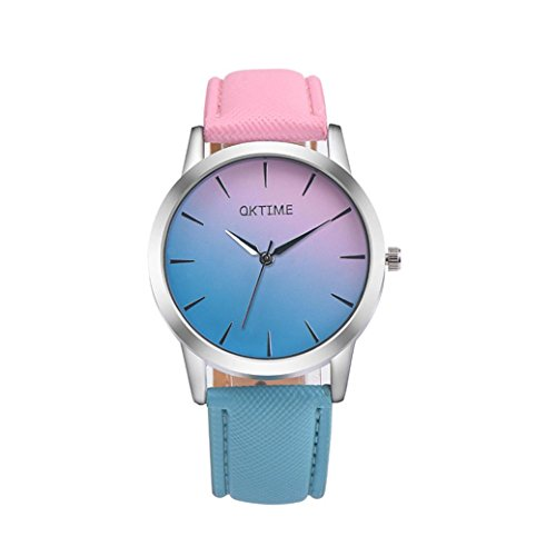 Valentinstag Uhren Dellin Retro Rainbow Design Leather Band Analog Alloy Quartz Wrist Watch (Rosa)