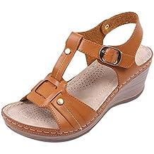 Btruely Sandalias de cuñas Zapatos de Verano con tacón Alto Zapatos de  Mujer Sandalias de Cuero 8efe60e8c354