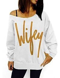 OverDose Mujeres en letra de molde la camiseta floja ocasional del suéter superior