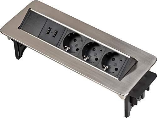 Brennenstuhl Indesk Power USB-Charger Tischsteckdosenleiste/Versenkbare Steckdose 3-Fach (2 USB Ladebuchsen, 2m Kabel) Silber/schwarz