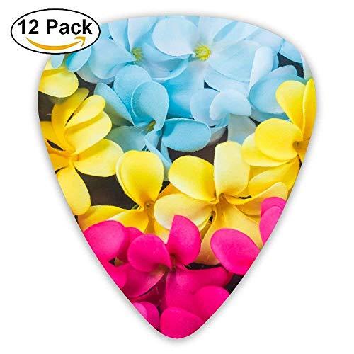 Frangipani bunte Blumen exotische Plumeria blau rosa Plektrum12 Stück Für E-Gitarre, Akustikgitarre, Mandoline und Bass
