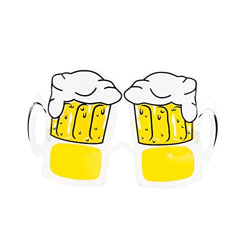 Oblique Unique® Bier Brille mit 2 Biergläsern Spaßbrille Partybrille Gagbrille für Himmelfahrt Männertag Vatertag Oktoberfest Party Fasching Karneval Accessoire für Männer