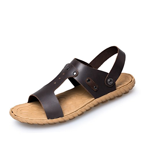 Men's Soft Leather Handmade Beach Sandals Dark Brown