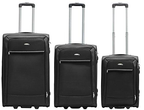 Packenger Lite Traveller ens. de 3 valises M/L et XL en noir. Dimensions : Taille M (valise cabine), L et XL
