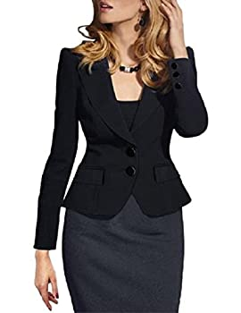 Lrud Women Double Button Tailored Crop Blazer Jacket Suit Slim Fitted Casual Business Evening Lapel Long Sleeve Coat 0