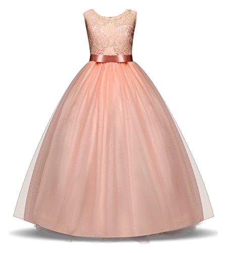 VEVESMUNDO Kinder Mädchen Kleid Blumenmädchenkleid Maxikleid Festlich Hochzeitkleid Partykleid...