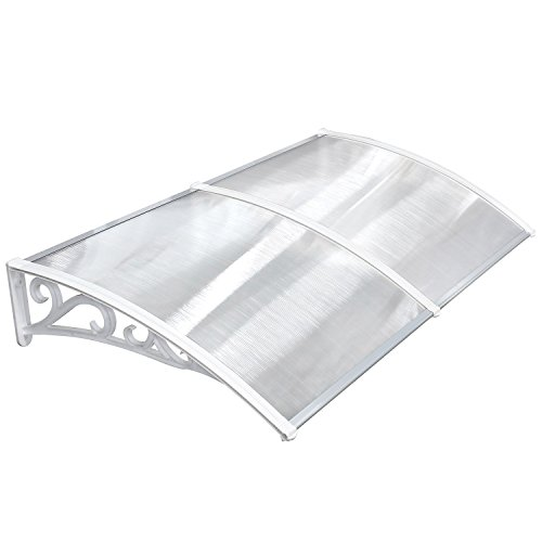 MVPOWER Vordach Türdach Stahl Pultbogenvordach Überdachung Polycarbonat Transparentes weiß (190x98.5 cm)