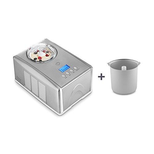 Eismaschine Emma 1,5 L mit selbstkühlendem Kompressor 150 Watt inkl. Gratis Eisbehälter von Springlane Kitchen Ice-Cream-Maker aus Edelstahl mit Abschaltautomatik, entnehmbarem Eisbehälter, Antihaftversiegelung & LCD Display