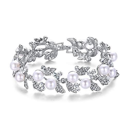 EVER FAITH® österreichisches Kristall künstliche Perle elegant Blätter Armband - klar-Silber-Ton N01549-2