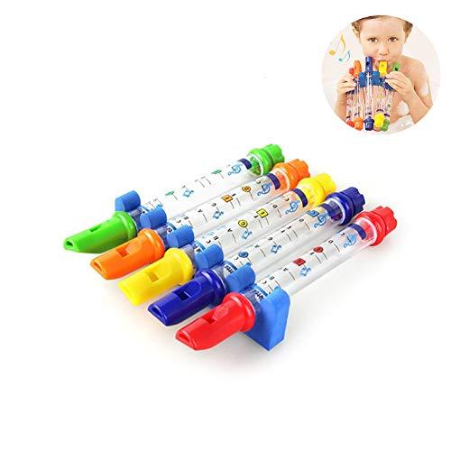 Naisicatar 1pc Wasser Flöten mit wasserdichter Musik Blätter Halter Fun Bad Flöte Klarinette Musik Einstellbarer Sound Instrument Bad-Spielzeug für Babys Kinder Spielen (zufällige Farbe)