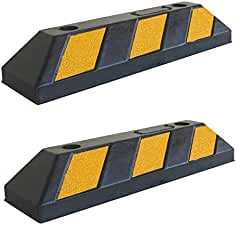 Heavy Duty Set of 2 Curbs by DOMUS724 Parking Stoppers for Garage and Parking Spots