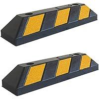 RWS-4x2 Tope para rueda de goma para estacionar en estacionamientos comerciales y domésticos y garajes privados, de color negro-amarillo, dimensiones 55x15x10 cm (paquete de 2)